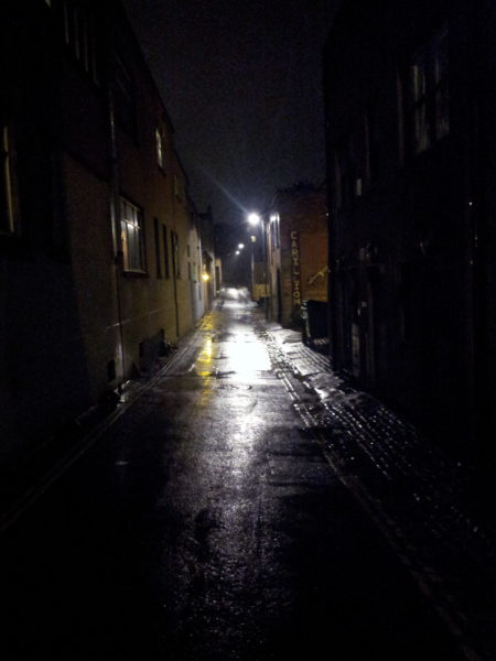 Night time view of Hampton Lane on wet night