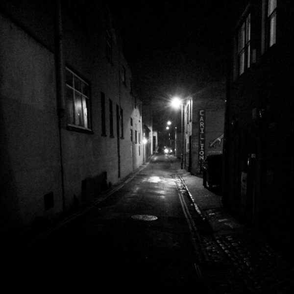 Black and white instagram view of Hampton Lane at night