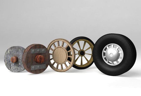 Wheels through the ages, from a siimple stone wheel to a modern pneumatic road wheel.